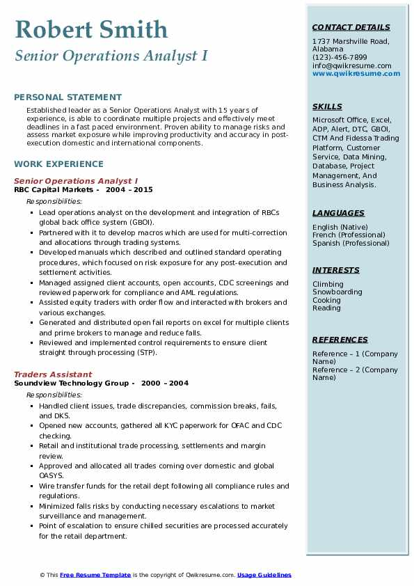 Senior Operations Analyst I Resume Format