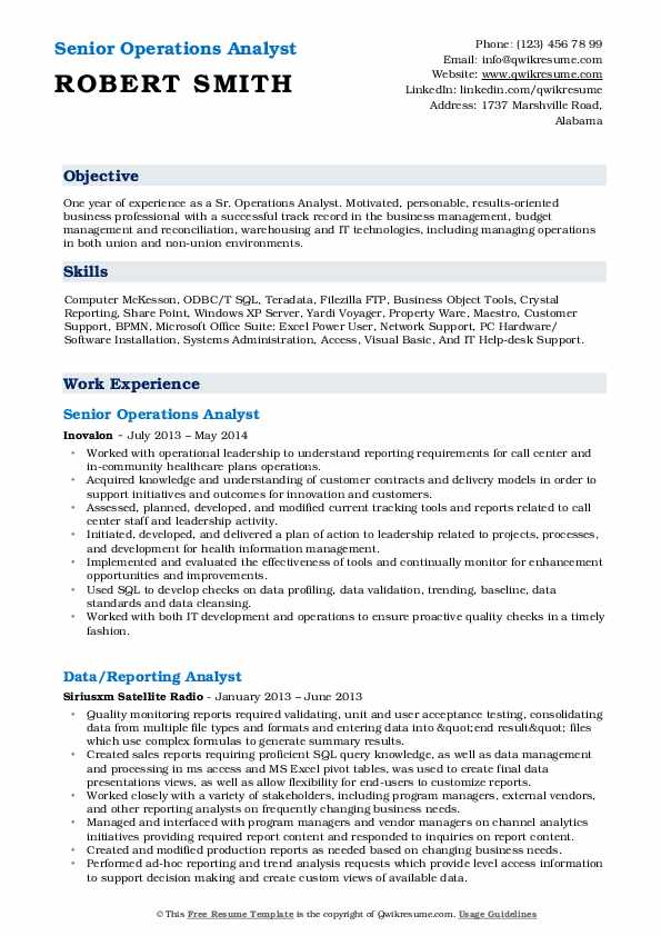 Senior Operations Analyst Resume Example