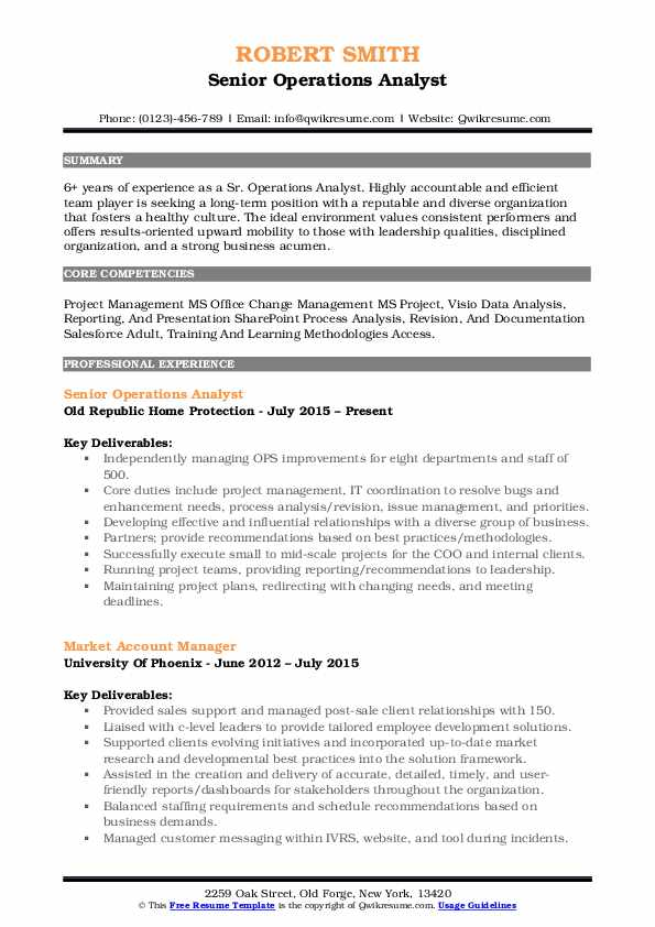 Senior Operations Analyst Resume Template