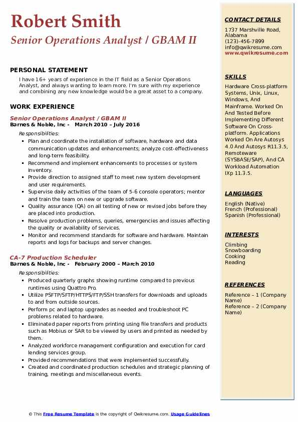 Senior Operations Analyst / GBAM II Resume Format