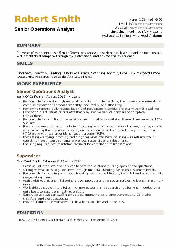 Senior Operations Analyst Resume Model