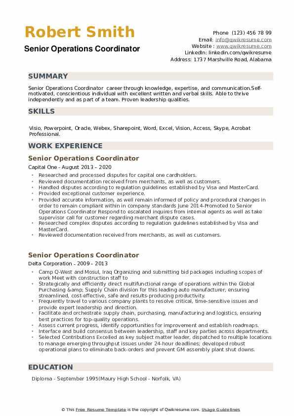 Senior Operations Coordinator Resume example
