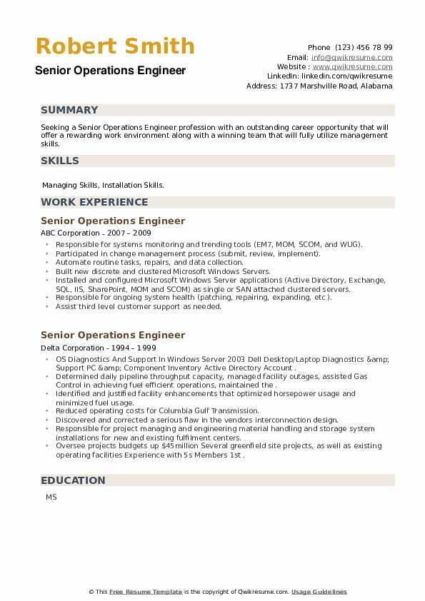 Senior Operations Engineer Resume example