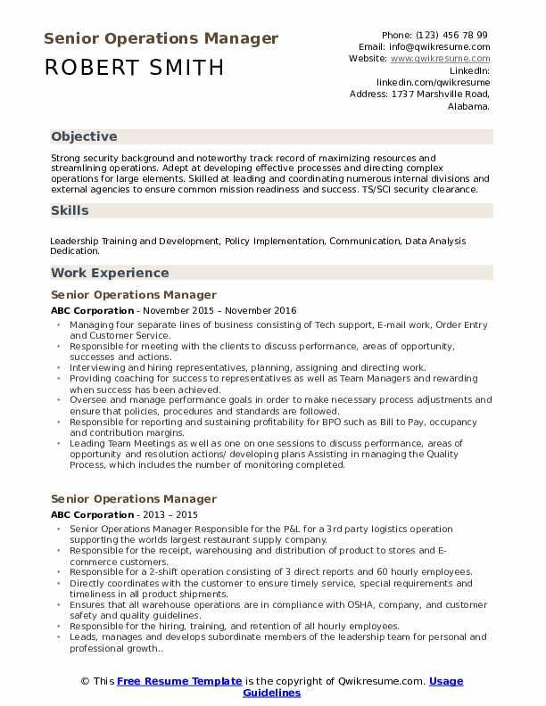 Senior Operations Manager Resume Format