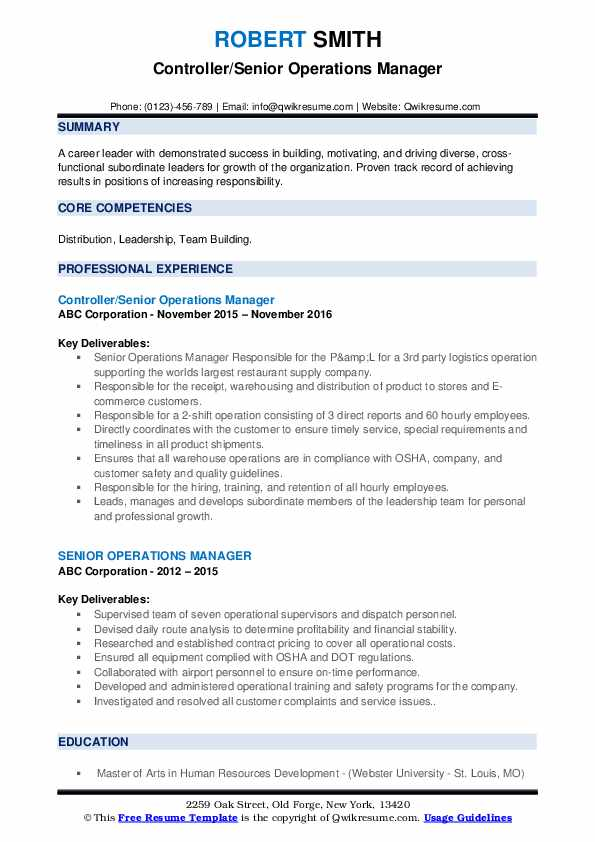 Controller/Senior Operations Manager Resume Sample