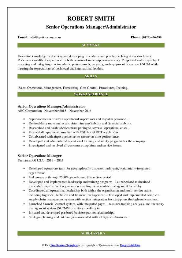 Senior Operations Manager/Administrator Resume Model