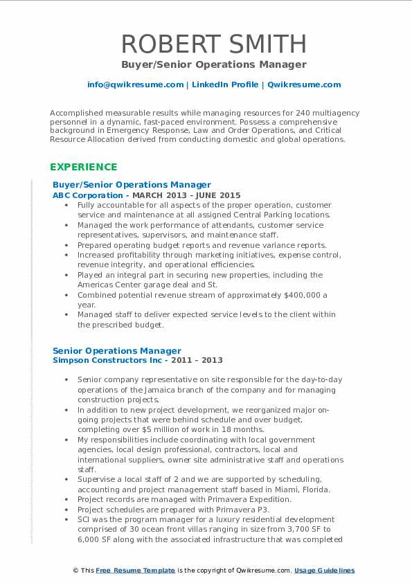Buyer/Senior Operations Manager Resume Format
