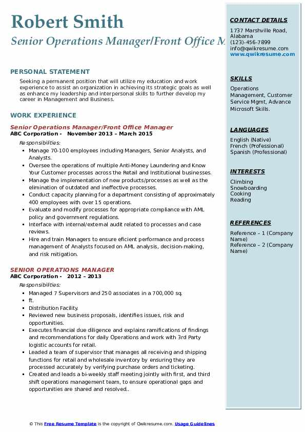 Senior Operations Manager/Front Office Manager Resume Model