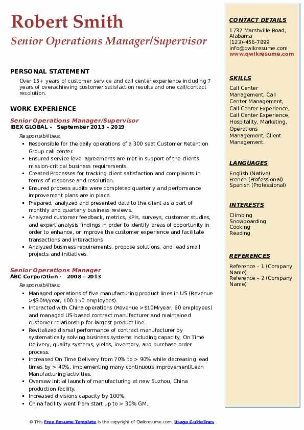 Senior Operations Manager/Supervisor Resume Format