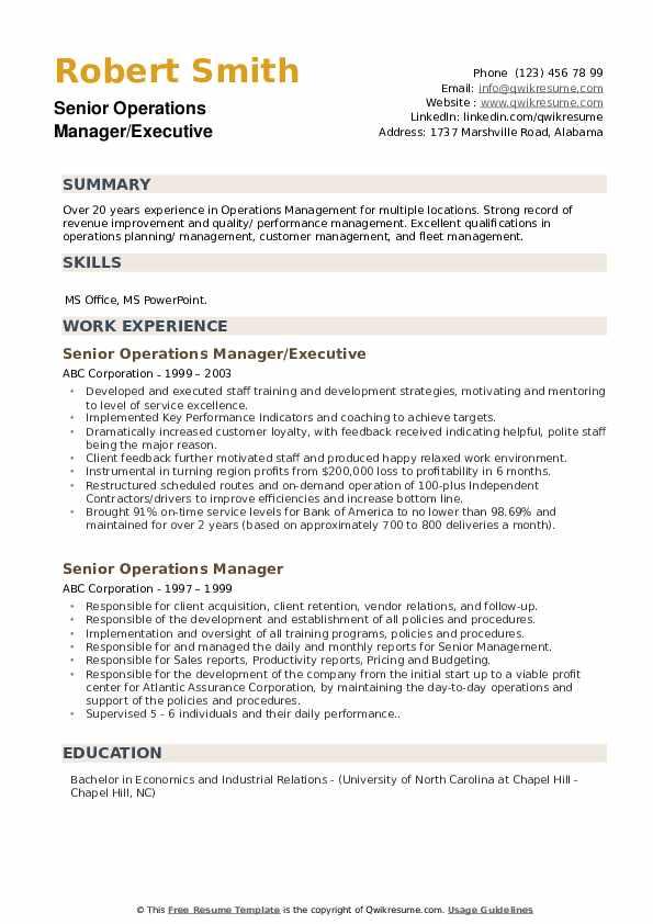 Senior Operations Manager/Executive Resume Example