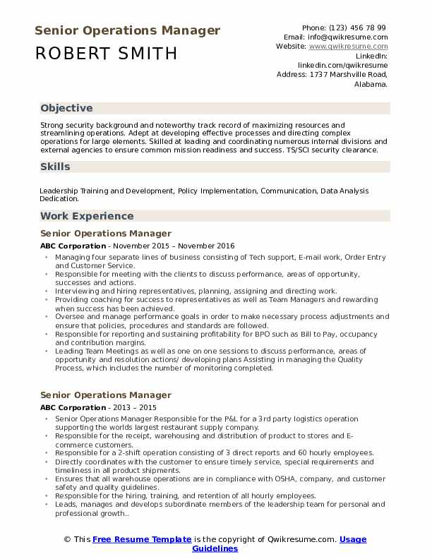 Team Manager Resume Model