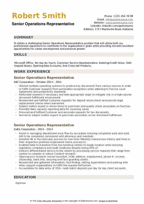 Senior Operations Representative Resume example