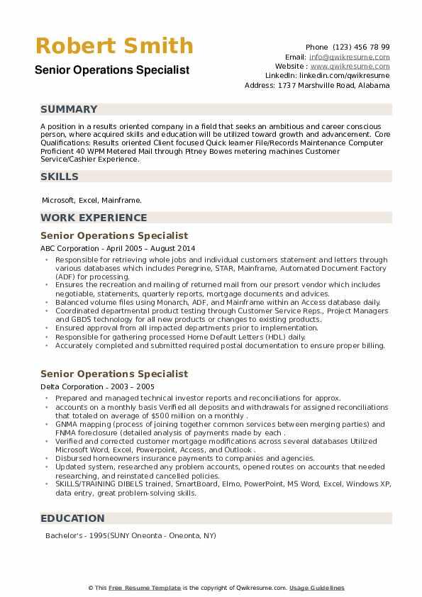 Senior Operations Specialist Resume example