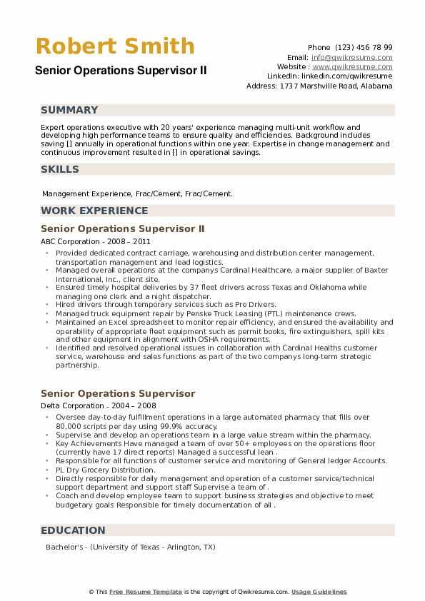 Senior Operations Supervisor Resume example