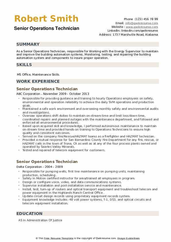Senior Operations Technician Resume example