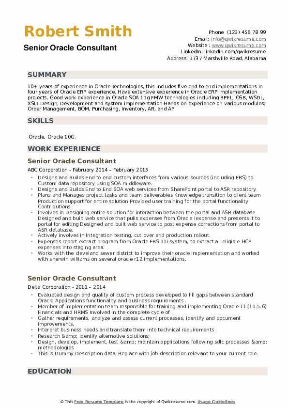 Senior Oracle Consultant Resume example