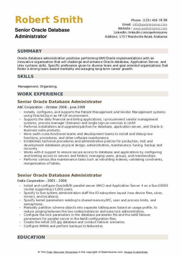 Senior Oracle Database Administrator Resume example