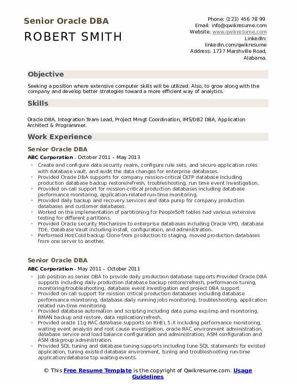 Senior Oracle DBA Resume Format