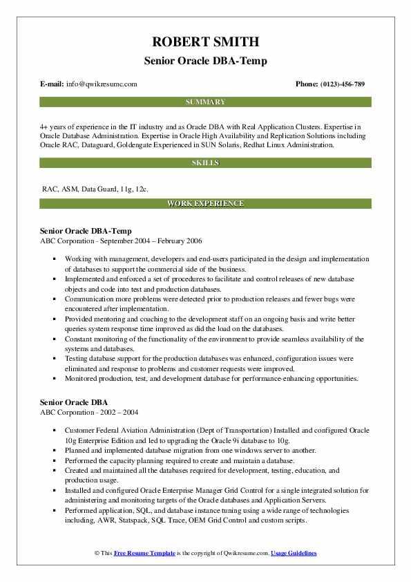 Senior Oracle DBA-Temp Resume Format