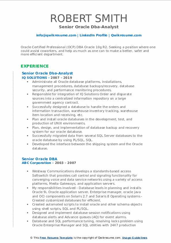 Senior Oracle Dba-Analyst Resume Model