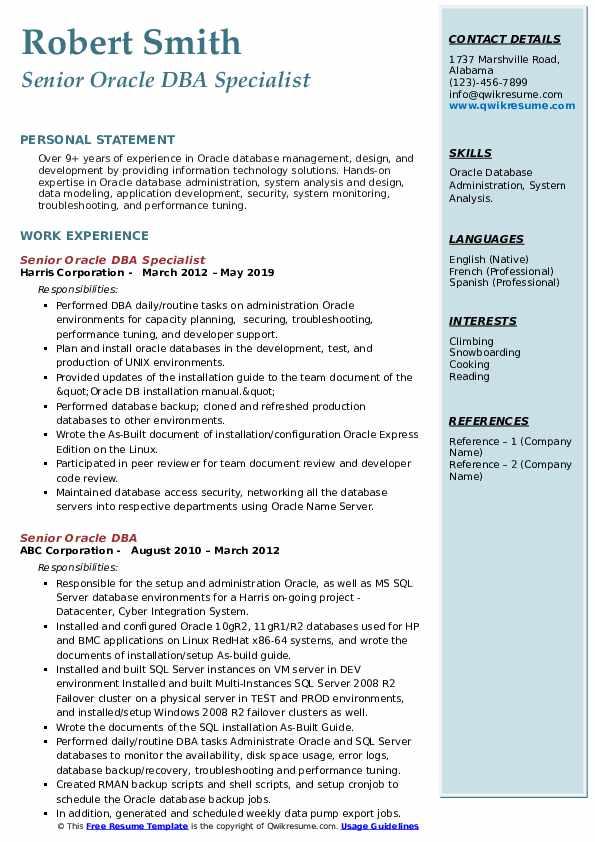 Senior Oracle DBA Specialist Resume Sample