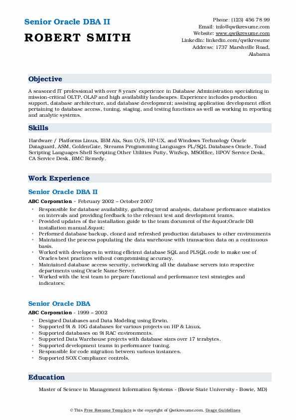 Senior Oracle DBA II Resume Template