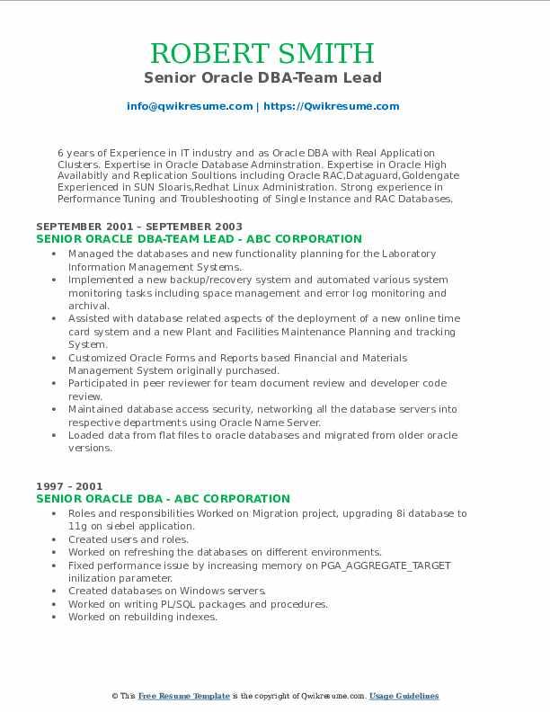 Senior Oracle DBA-Team Lead Resume Template