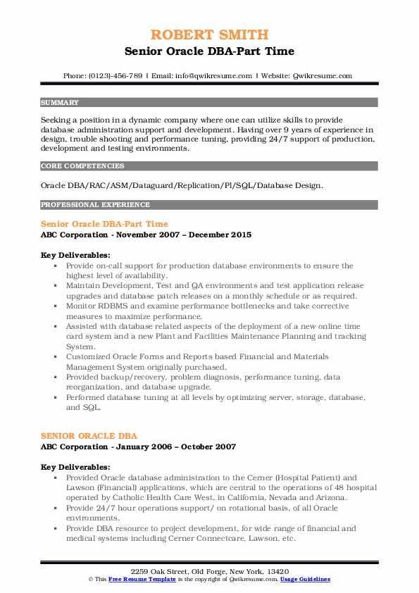 Senior Oracle DBA-Part Time Resume Format