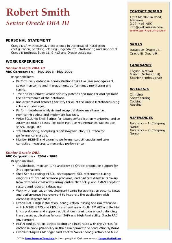 Senior Oracle DBA III Resume Model