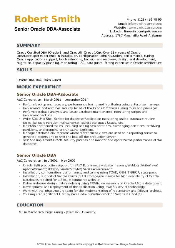 Senior Oracle DBA-Associate Resume Template