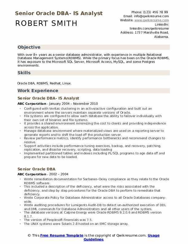 Senior Oracle DBA- IS Analyst Resume Sample