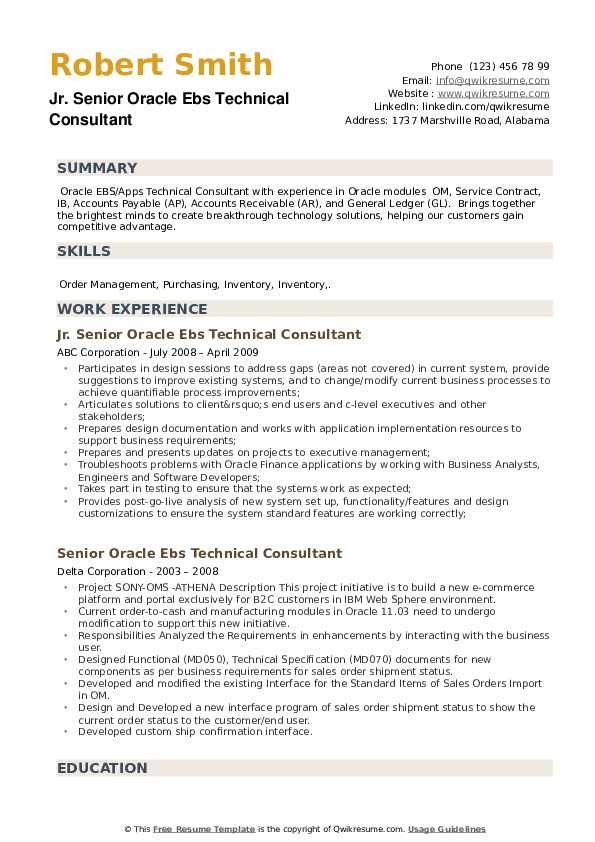 Senior Oracle Ebs Technical Consultant Resume example