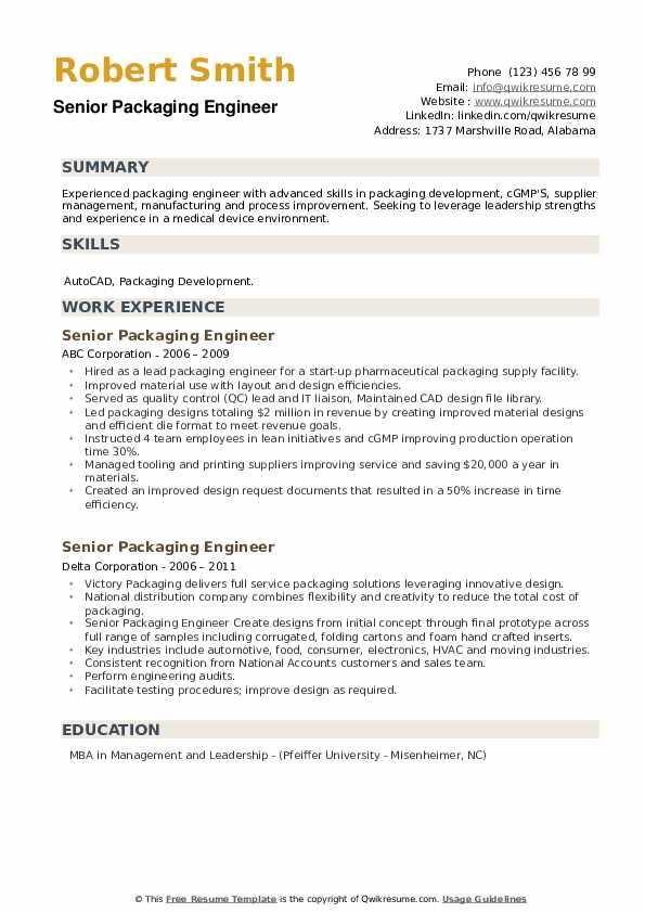 Senior Packaging Engineer Resume example
