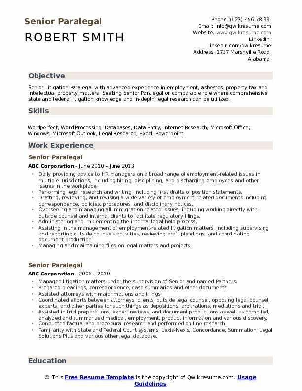 Senior Paralegal Resume example