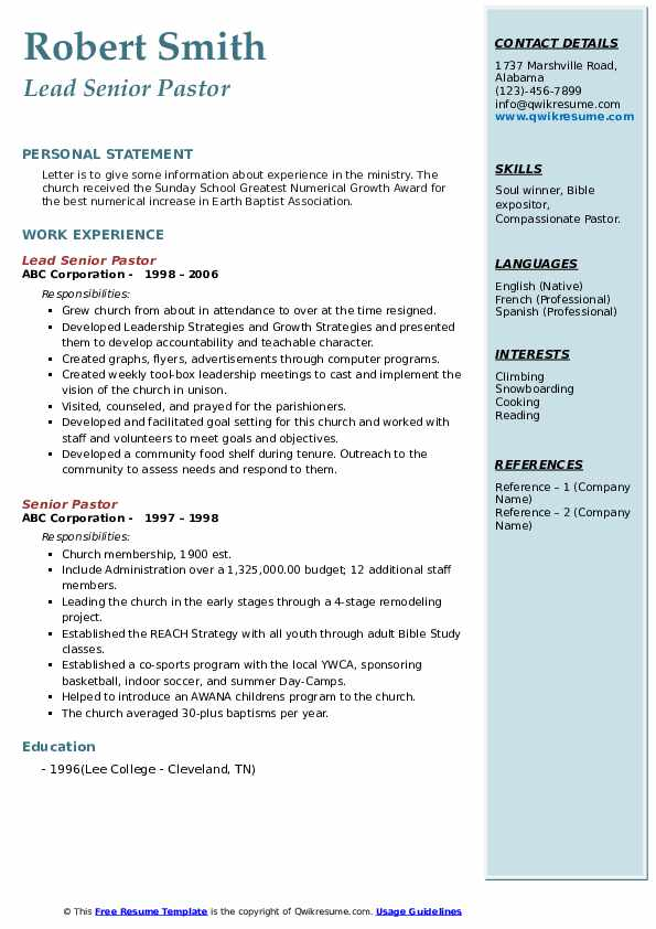 senior pastor resume samples
