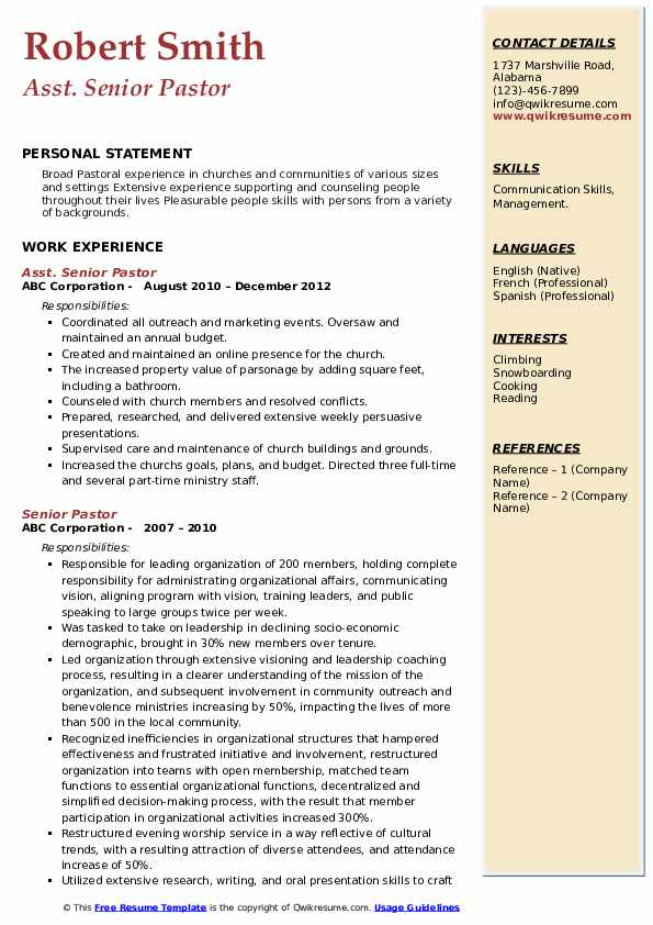 senior pastor resume samples  qwikresume