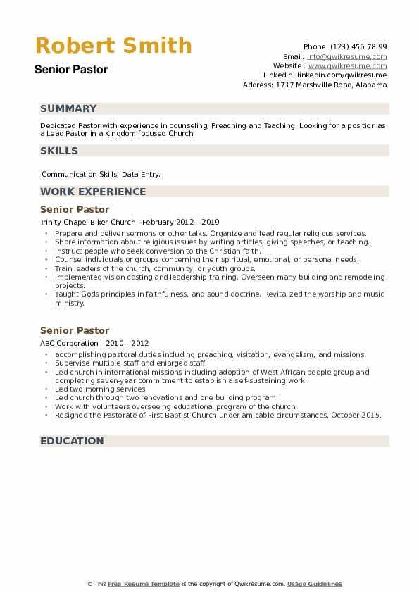 Senior Pastor Resume example