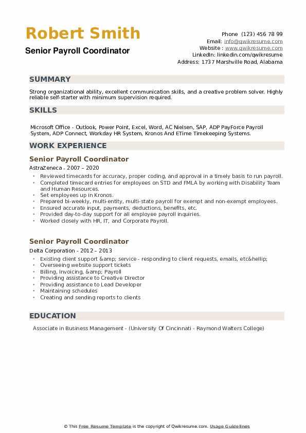 Senior Payroll Coordinator Resume example