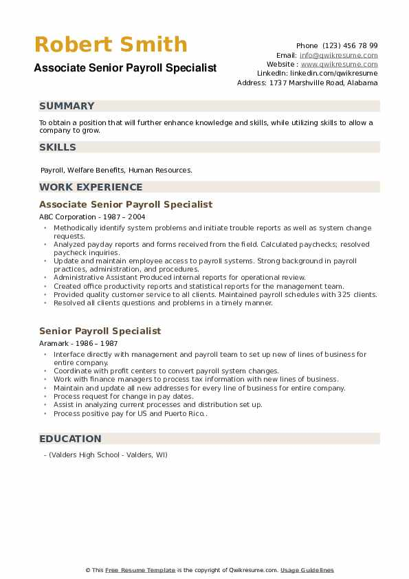 senior payroll specialist resume samples