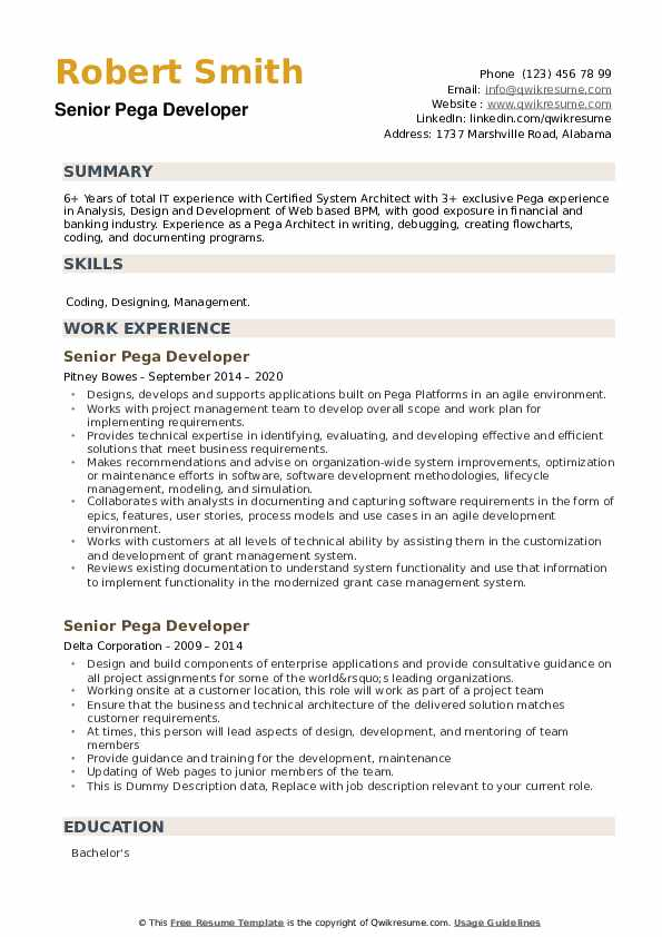 Senior Pega Developer Resume example