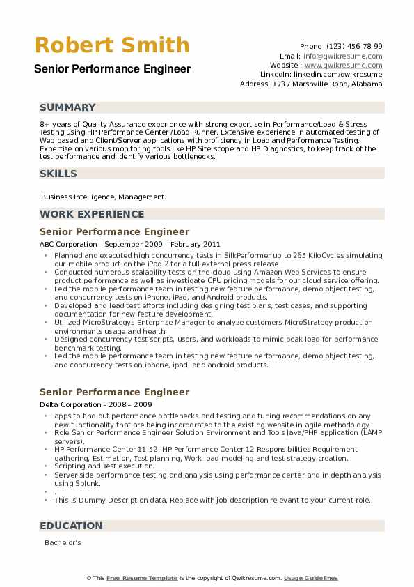 Senior Performance Engineer Resume example