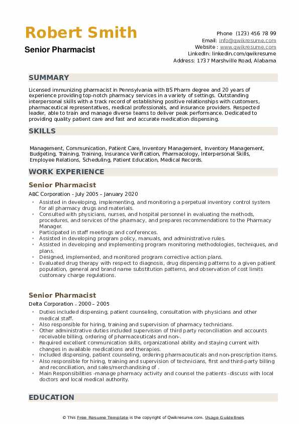 Senior Pharmacist Resume example