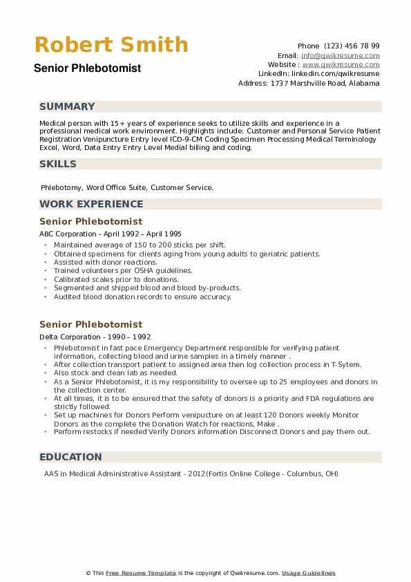 Senior Phlebotomist Resume example