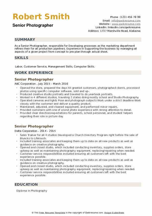 Senior Photographer Resume example
