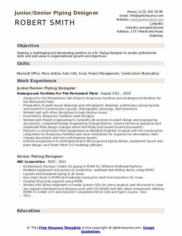 piping layout engineer resume senior piping designer resume samples qwikresume  senior piping designer resume samples
