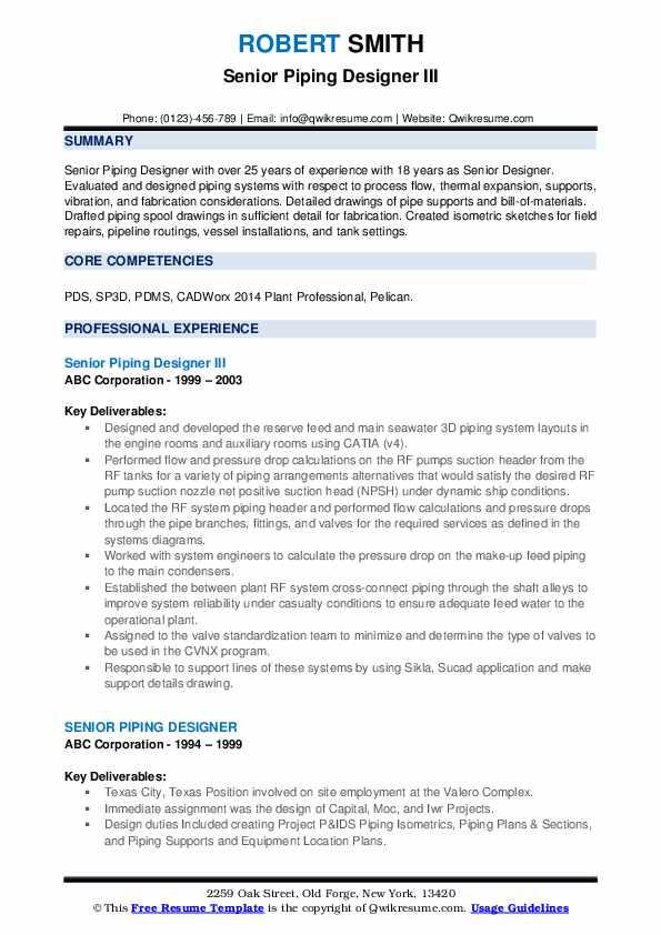 Senior Piping Designer III Resume Format