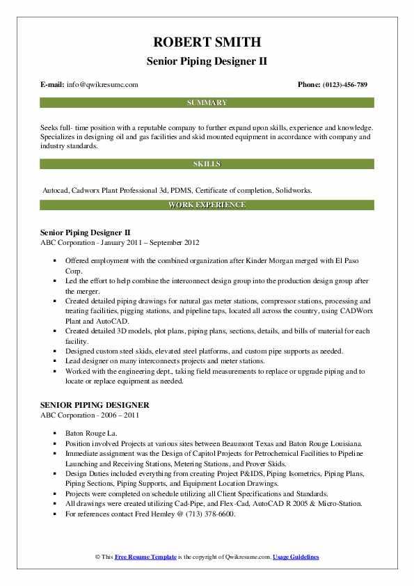 Senior Piping Designer II Resume Template