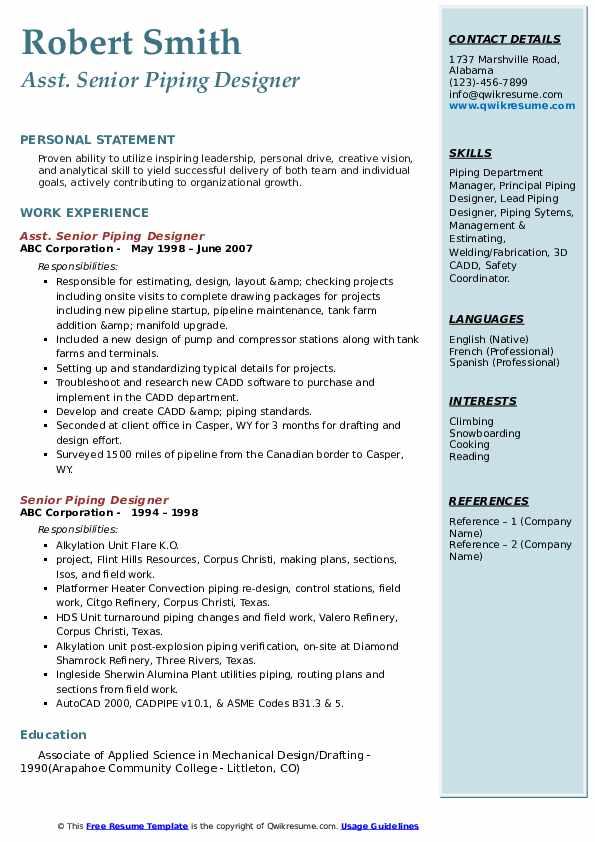 Asst. Senior Piping Designer Resume Model