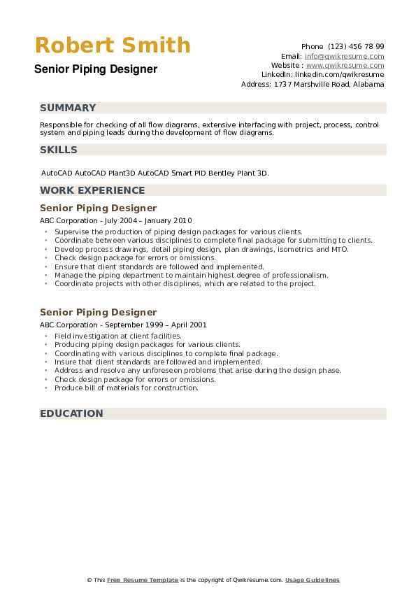 Senior Piping Designer Resume example