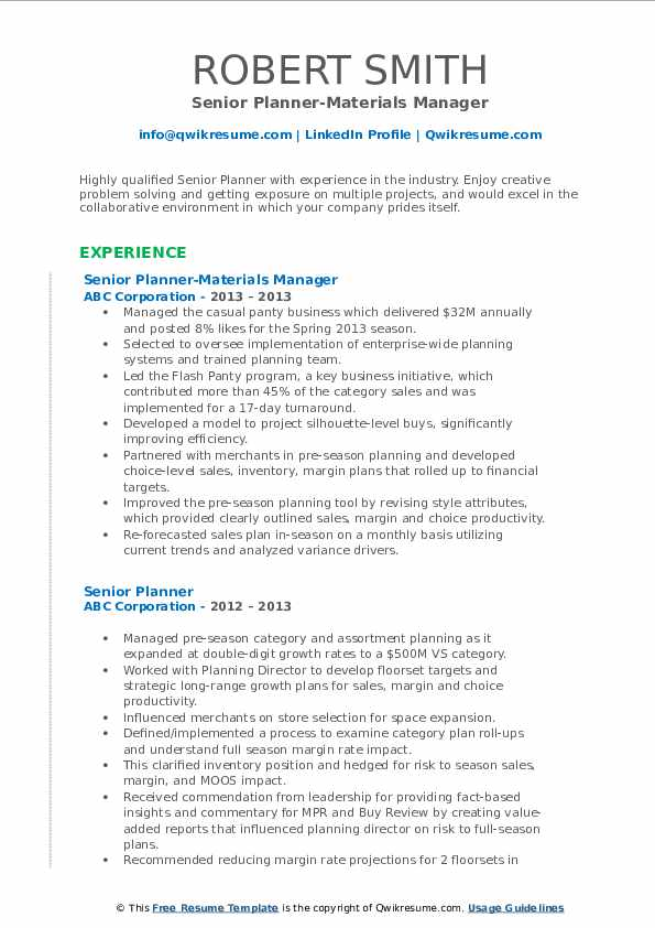Senior Planner-Materials Manager Resume Template